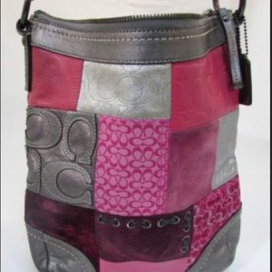 """COACH Iconic """"Holiday"""" Patchwork Pink Suede bag"""